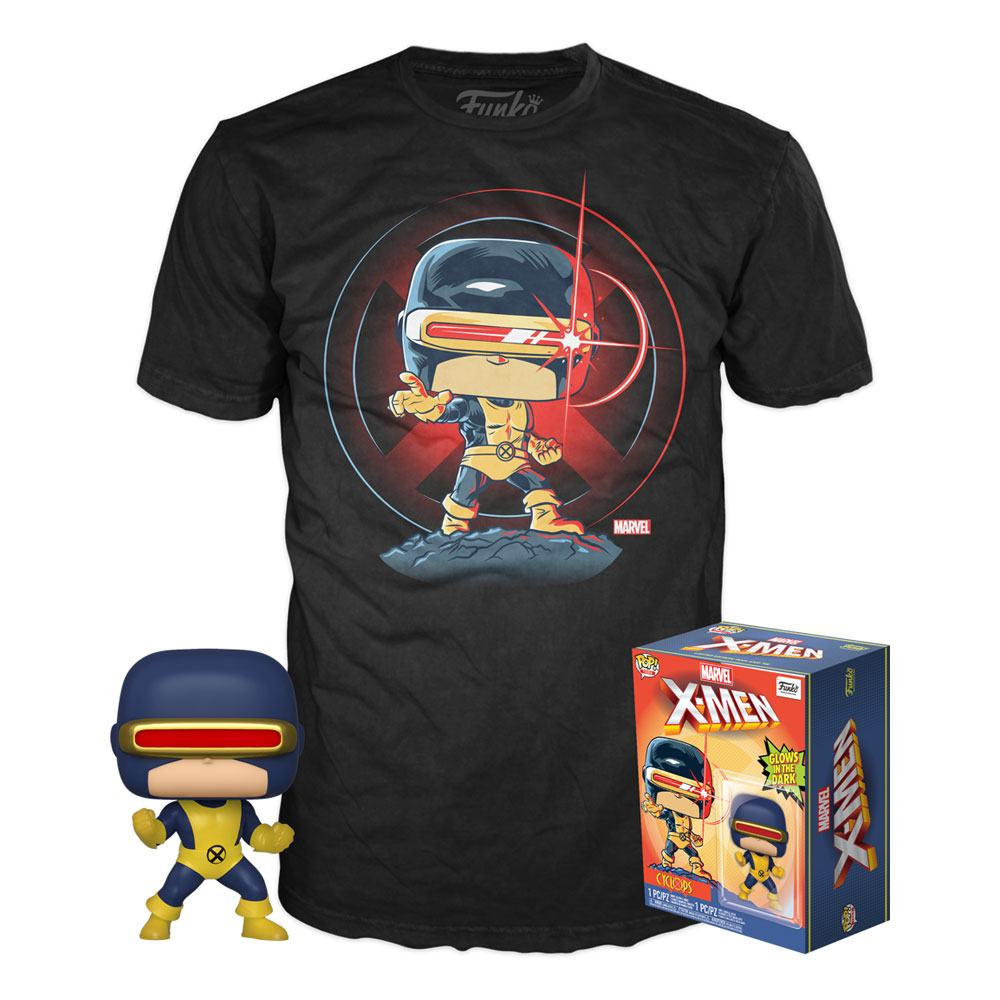 MARVEL 80TH POP! AND TEE SET DE FIGURA Y CAMISETA FIRST APPEARANCE CYCLOPS GITD TALLA L