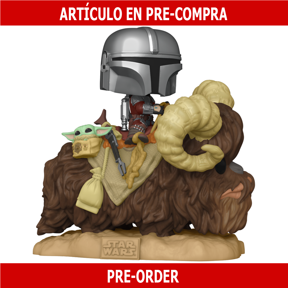 PRE-COMPRA - POP DELUXE: THE MANDALORIAN - MANDO ON BANTHA W/CHILD IN BAG