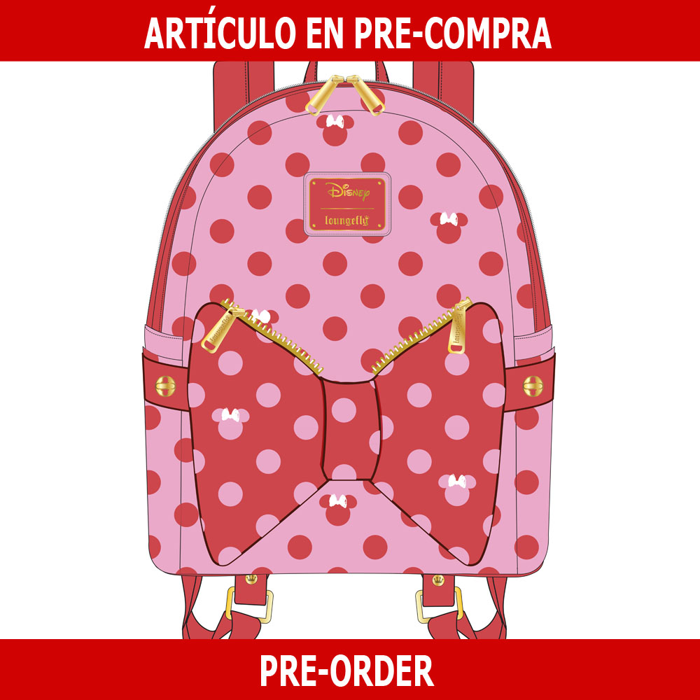 PRE-COMPRA - MINI MOCHILA LOUNGEFLY DISNEY: MINNIE MOUSE DOTS AOP BOW FANNY PACK