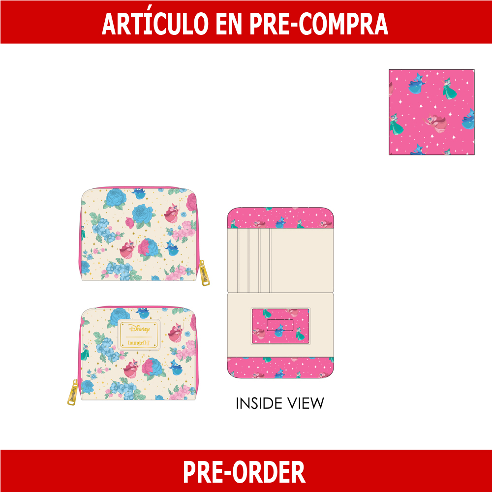 PRE-COMPRA - CARTERA LOUNGEFLY  DISNEY: SLEEPING BEAUTY FLORAL FAIRY GODMOTHER